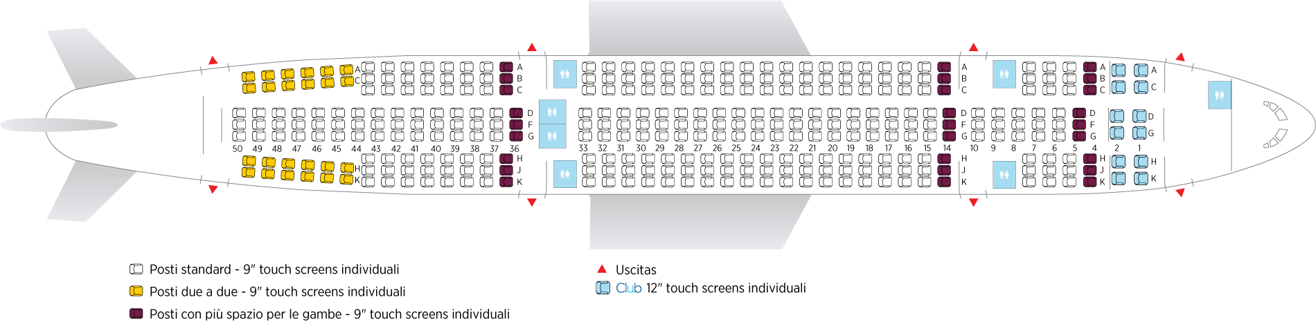 recensione air transat: configurazione sedili